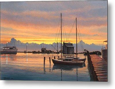 Sunset-north Dock At Pelee Island   Metal Print by Paul Krapf