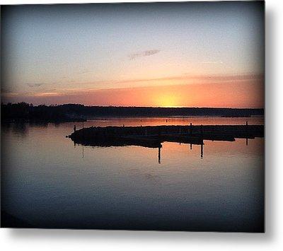 Sunset Off Old Steel Bridge  Metal Print by T Behm