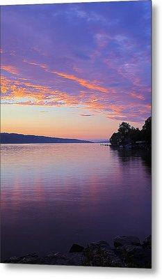Sunset On Cayuga Lake Cornell Sailing Center Ithaca New York IIi Metal Print by Paul Ge