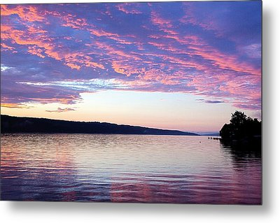 Sunset On Cayuga Lake Cornell Sailing Center Ithaca New York Metal Print by Paul Ge