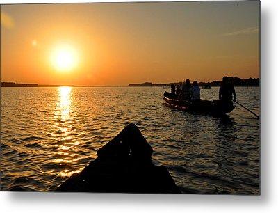 Sunset On Chilika Lake Orissa India Metal Print