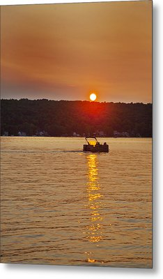 Boating Into The Sunset Metal Print