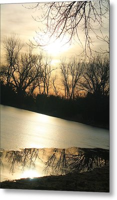 Sunset On Frozen Lake Metal Print by Alicia Knust