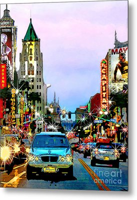 Metal Print featuring the digital art Sunset On Hollywood Blvd by Jennie Breeze