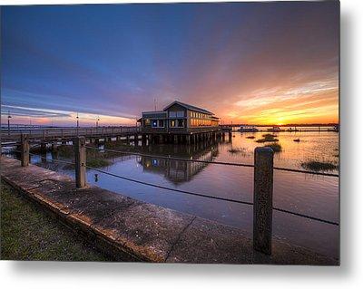 Sunset On Jekyll Island Metal Print by Debra and Dave Vanderlaan