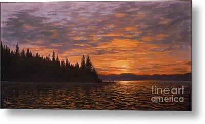 Sunset On Kayak Point Metal Print