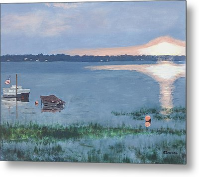 Metal Print featuring the painting Sunset On Lake Champlain by Cynthia Morgan