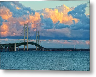 Sunset On Mackinac Bridge Metal Print