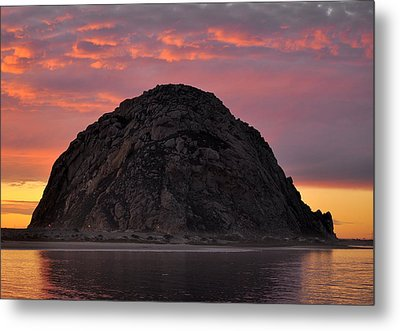 Sunset On Morro Rock Metal Print by AJ  Schibig