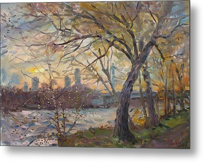 Sunset On Niagara River  Metal Print by Ylli Haruni