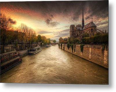 Sunset On Notre Dame Metal Print