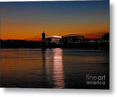 Metal Print featuring the photograph Sunset On Paul Brown Stadium by Mary Carol Story