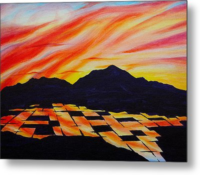 Metal Print featuring the painting Sunset On Rice Fields by Michele Myers