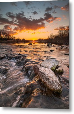 Sunset On River Metal Print by Davorin Mance