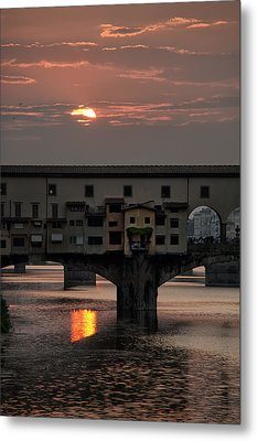 Sunset On The Arno River Metal Print by Melany Sarafis