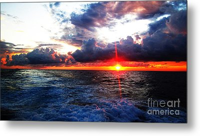 Sunset On The Atlantic Metal Print by Alison Tomich