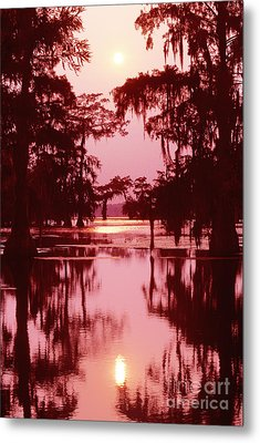 Metal Print featuring the photograph Sunset On The Bayou Atchafalaya Basin Louisiana by Dave Welling