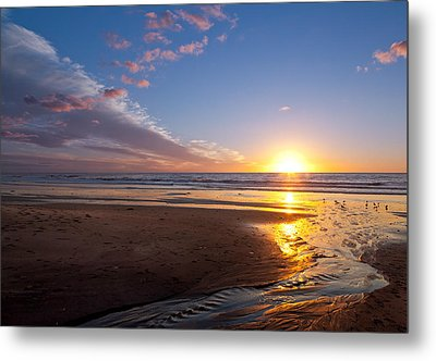 Sunset On The Beach At Carlsbad. Metal Print by Melinda Fawver