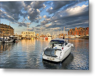 Sunset On The Boston Waterfront Metal Print by Mark E Tisdale