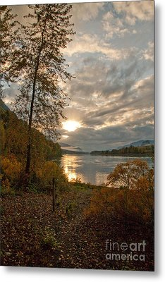 Sunset On The Columbia Metal Print by Cari Gesch