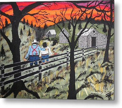 Sunset On The Fence Metal Print by Jeffrey Koss