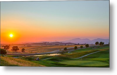 Sunset On The Greens Metal Print
