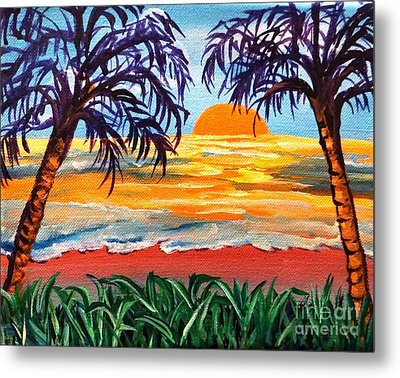 Metal Print featuring the painting Sunset On The Gulf by Ecinja Art Works