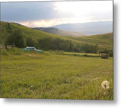 Sunset On The Hay Field Metal Print