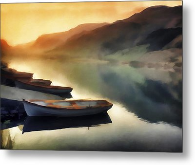 Sunset On The Lake Metal Print by David Ridley