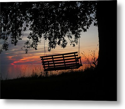 Sunset On The Lake Metal Print by Heather Allen