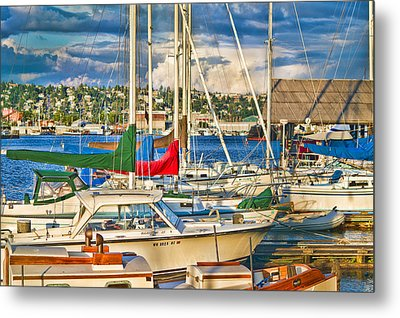 Sunset On The Marina Metal Print