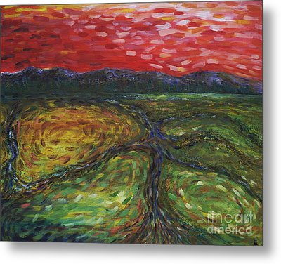 Metal Print featuring the painting Sunset On The Narrows by Cynthia Lagoudakis
