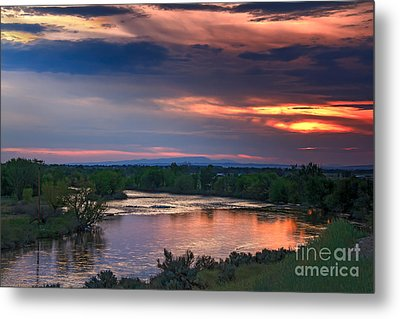 Sunset On The Payette  River Metal Print by Robert Bales