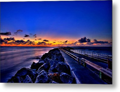 Metal Print featuring the painting Sunrise On The Pier by Bruce Nutting