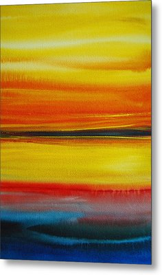 Metal Print featuring the painting Sunset On The Puget Sound by Jani Freimann