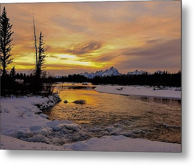 Metal Print featuring the photograph Sunset On The River by Yeates Photography
