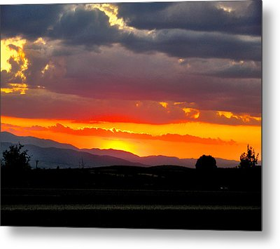 Sunset On The Road Metal Print
