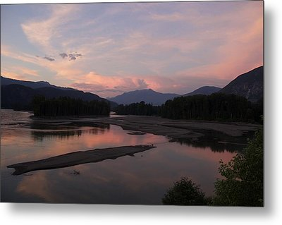 Sunset On The Skeena Metal Print by Sylvia Hart