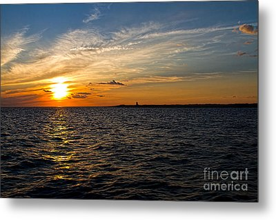 Sunset On The Water In Provincetown Metal Print by Eleanor Abramson