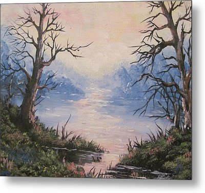 Metal Print featuring the painting Sunset On Water by Megan Walsh