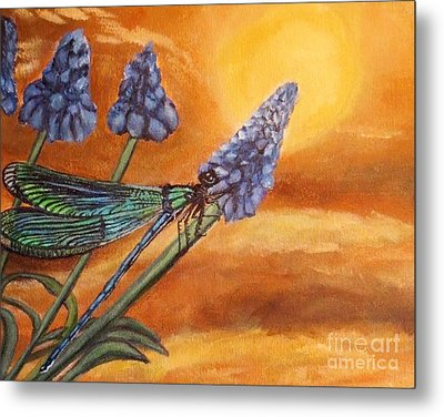 Metal Print featuring the painting Summer Sunset Over A Dragonfly by Kimberlee Baxter