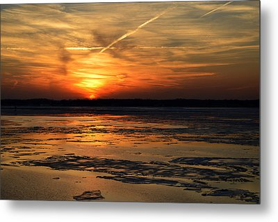 Metal Print featuring the photograph Sunset Over A Frozen Chesapeake Bay by Bill Swartwout