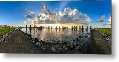 Sunset Over A Lake, Lake Pontchartrain Metal Print by Panoramic Images