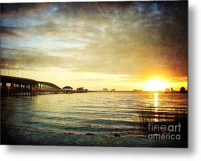 Sunset Over Biloxi Bay Metal Print by Joan McCool