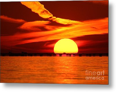 Sunset Over Causeway Metal Print