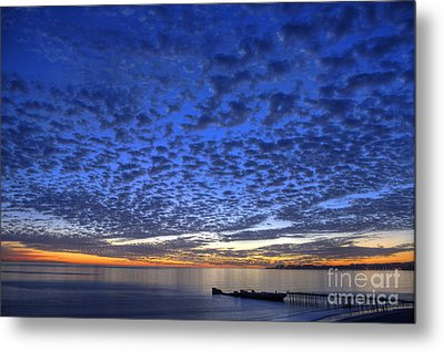 Sunset Over Cement Ship Metal Print