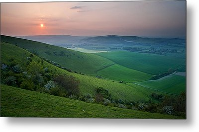 Sunset Over English Countryside Escarpment Landscape Metal Print by Matthew Gibson