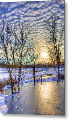 Sunset Over Ice Metal Print