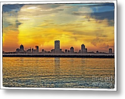 Sunset Over Milwaukee Metal Print by Mary Machare