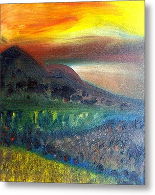 Sunset Over Mountains  Metal Print by Michaela Kraemer